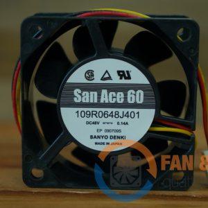Quạt SANYO DENKI 109R0648J401, 48VDC, 60x60x25mm
