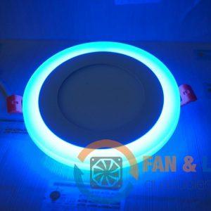 Đèn LED âm trần 9W tròn, viền xanh