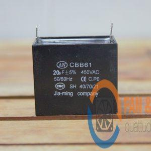 Tụ Nguồn Cho Quạt CBB61 20μF ±5%, 450VAC