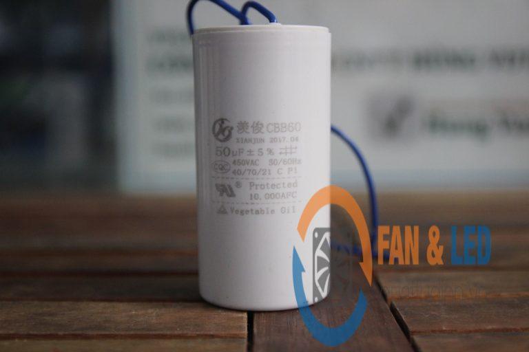 Tụ điện CBB60 50μF ±5%, 450VAC Dây cắm
